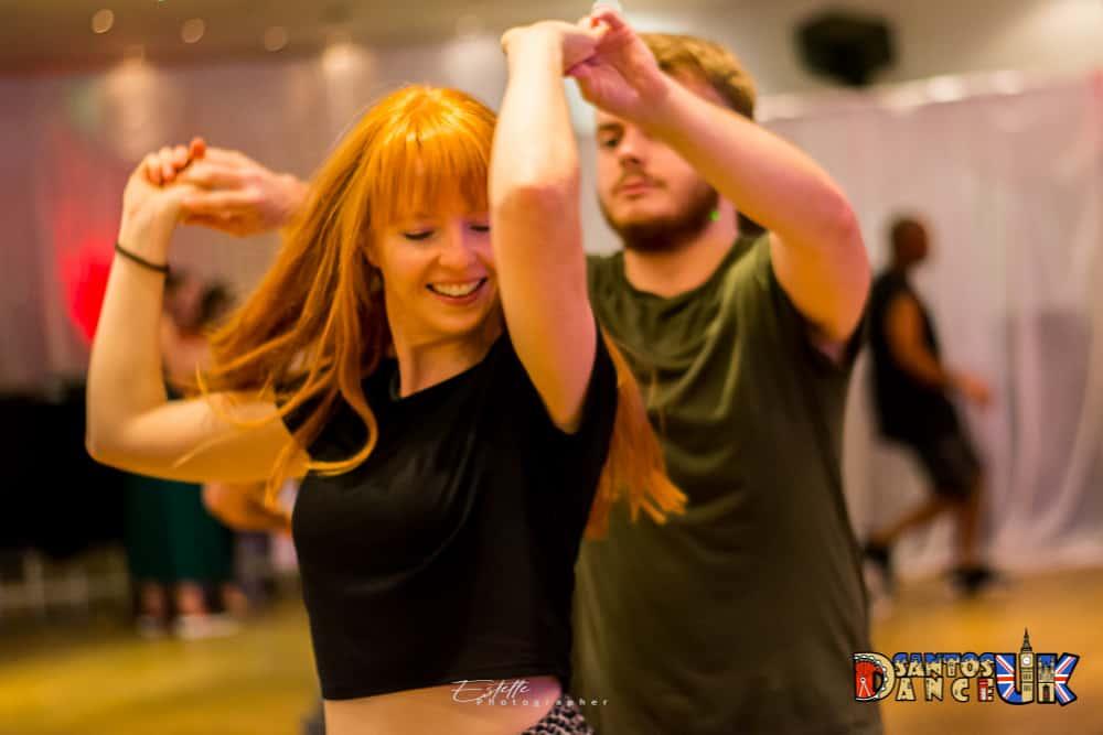 Woman preparing to swirl when dancing Salsa