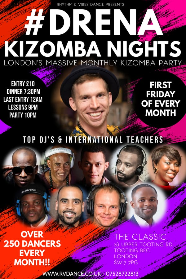 Drena Kizomba party tposter at The Classes in Tooting South London
